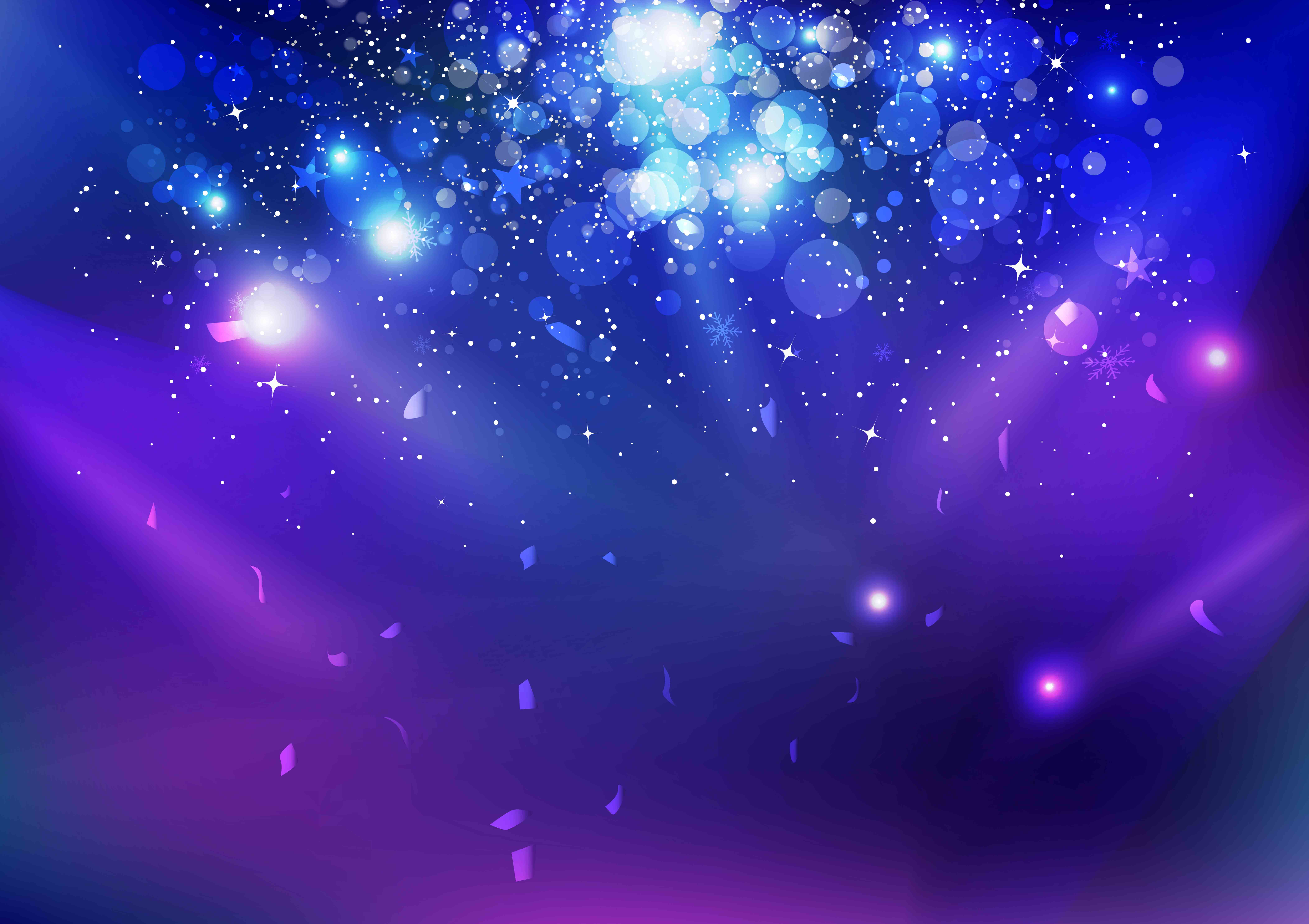 purple and blue background with confetti